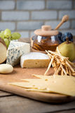 Assorted cheeses in various shapes and sizes Royalty Free Stock Image