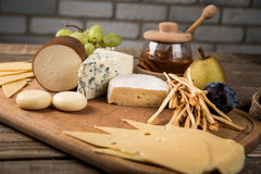 Assorted cheeses in various shapes and sizes Stock Image