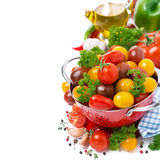Assorted cherry tomatoes, spices, olive oil Royalty Free Stock Images