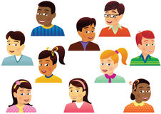 Assorted childrens heads Stock Photos
