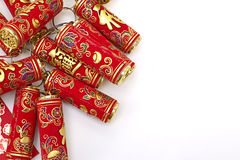Assorted chinese new year decorations. On red background royalty free stock images
