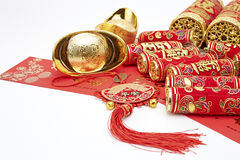Assorted chinese new year decorations. On red background stock images