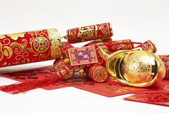 Assorted chinese new year decorations. On red background stock photo