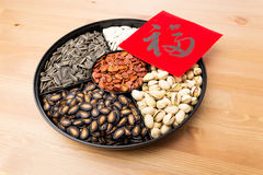 Assorted chinese sytle snack tray and chinese calligraphy, meani Royalty Free Stock Photos