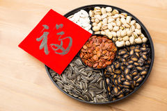 Assorted chinese sytle snack tray and chinese calligraphy, meani Royalty Free Stock Images