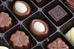 Assorted chocolate box. Close up Stock Photography