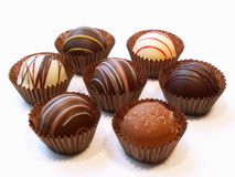 Assorted chocolate candies. Chocolates stock images