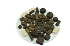 Assorted chocolate candies ball black brownie calorie . stock photos