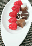 Assorted chocolate candies with raspberries Stock Images