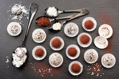 Assorted chocolate candy truffles stock photography