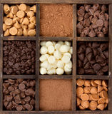 Assorted chocolate chips in a printers box Royalty Free Stock Photo