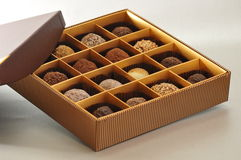 Assorted chocolate. Assorted mixed chocolate in box royalty free stock photo