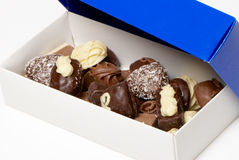 Assorted chocolate pralines in a box Royalty Free Stock Images