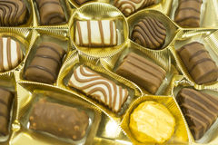 Assorted chocolate pralines. Close up Royalty Free Stock Images