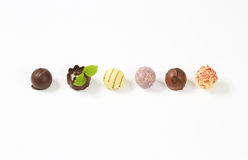Assorted chocolate pralines Royalty Free Stock Image