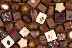 Assorted chocolate pralines Royalty Free Stock Images