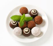 Assorted chocolate truffles Stock Images