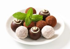 Assorted chocolate truffles Royalty Free Stock Image