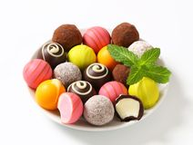 Assorted chocolate truffles and pralines Royalty Free Stock Images