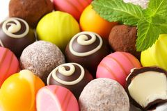 Assorted chocolate truffles and pralines Royalty Free Stock Photos