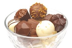 Assorted chocolates. Isolated on white Stock Image
