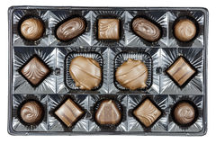 Assorted chocolates box candy food Stock Photography