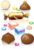 Assorted chocolates candy. Raster and Vector Stock Illustration