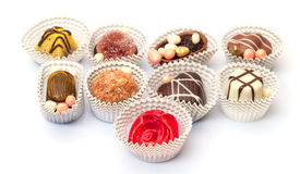 Assorted Chocolates Candy in Paper Basket Royalty Free Stock Images