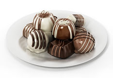Assorted chocolates isolated on white background. 3D illustration Royalty Free Stock Images