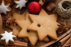 Assorted Christmas cookies, decorations and spices, close-up Royalty Free Stock Photos