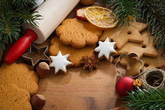 Assorted Christmas cookies, decorations and spices Royalty Free Stock Photo