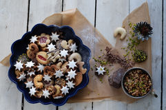 Assorted Christmas cookies and ingredients Stock Image