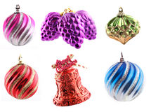 Assorted Christmas Decorations. In high resolution (4500x3348px) shot over white background Stock Images