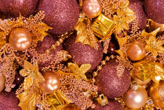 Assorted christmas decorations - baubles, garlands Stock Image