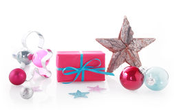 Assorted Christmas Items on White Background Stock Photo