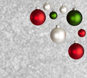 Assorted Christmas Ornaments. Spherical Christmas Ornaments in varying sizes. Square format Stock Images