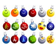 Assorted Christmas Ornaments Clip Art. A clip art illustration featuring an assortment of colorful and unique Christmas ornaments including smiley faces, tree Royalty Free Stock Image