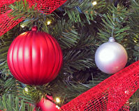 Assorted Christmas Ornaments. Displayed on a Christmas Tree Stock Image