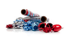 Assorted Christmas Wrapping Paper And Ribbons Stock Photography