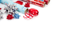 Assorted Christmas wrapping paper and ribbons Stock Photo