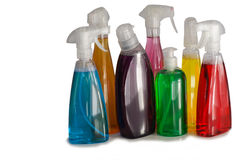 Assorted Cleaning Bottles Royalty Free Stock Images