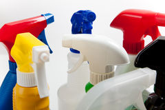Assorted cleaning spray bottles Royalty Free Stock Photos