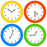 Assorted Clocks on a White Background. Various analogue clocks with numbers and markers stock illustration