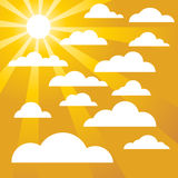 Assorted Clouds on a Golden Sunny Sky. With sunbeams royalty free illustration