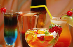 Assorted cocktails. Assorted alcoholical cocktails with fruits and berries stock photography