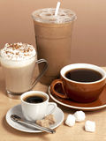 Assorted coffee beverages Royalty Free Stock Photography