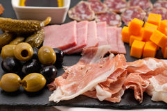 Assorted cold cut platter. Assorted fresh cold cut platter Italian appetizer Royalty Free Stock Photography