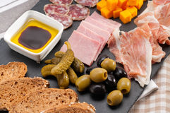 Assorted cold cut platter Royalty Free Stock Images