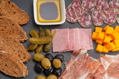 Assorted cold cut platter Royalty Free Stock Photo