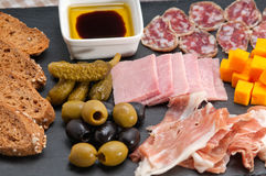 Assorted cold cut platter. Assorted fresh cold cut platter Italian appetizer Stock Photos